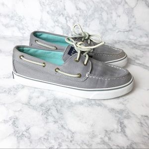 Sperry Gray Canvas Boat Shoes